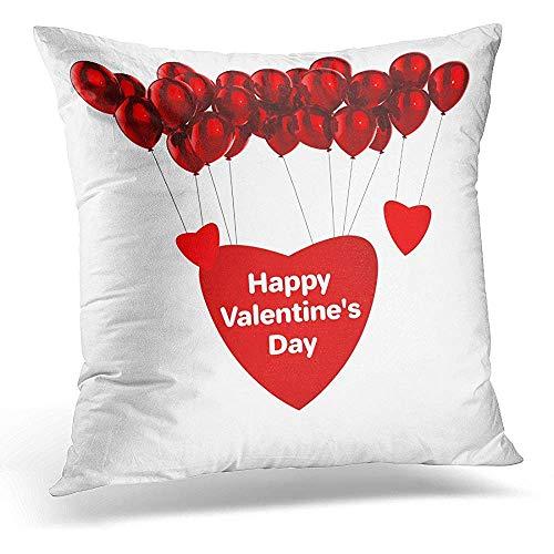 Kussensloop niet geschikt voor Valentijnsdag, 3D gelukkige met rode ballon en harten, witte samenstelling, ronder, Flying Balls, Air Fashion bedrukking, voor thuiskantoor