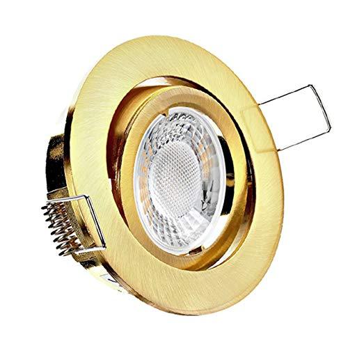 Conceptrun LED Einbaustrahler flach Modell: RD40FL dimmbar warmweiß 230V Einbauleuchte rund schwenkbar Gold Messing Optik geringe Einbautiefe 25mm Set
