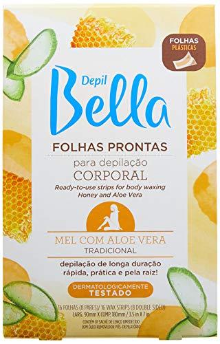 Folha Pronta Para Depilação Corporal Mel com Aloe Vera 16 Fls, Depil Bella, Multi-Color