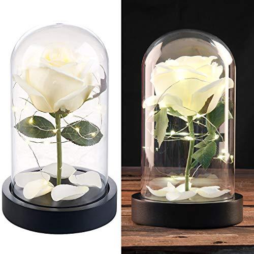 Lunartec Blume: Edle Kunst-Rose mit LED-Beleuchtung in Echtglas-Kuppel, weiß (Kunstrose)
