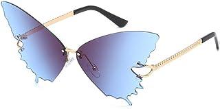 QPRER - Gafas De Sol,Gafas De Sol Sin Montura con Forma De Mariposa De Gran Tamaño Azul para Mujer Lente De Océano Gafas Polarizadas para Mujer Viaje De Calle Al Aire Libre Fiesta En La Playa