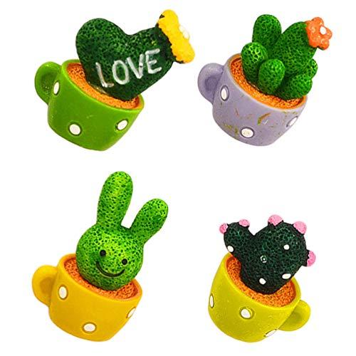 SOLUSTRE 4 Unids 3D Cactus Suculentos Imanes de Nevera Mini Resina Conejo de Pascua Corazón Bonsai Aviso Mensaje Pegatinas Magnéticas para Jardín de Hadas Decoraciones para El Hogar