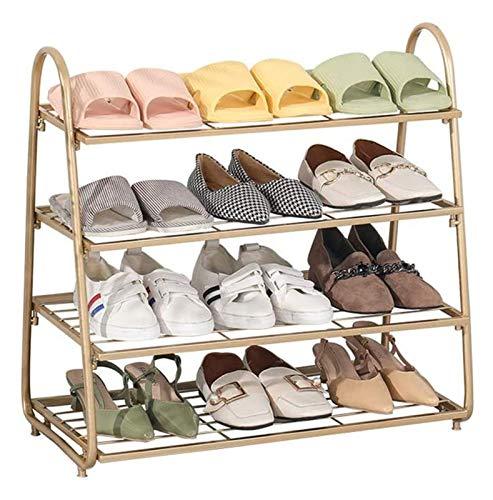 Zapatero nórdica, 3 Niveles / 4tier zapato del oro del metal de almacenamiento Bastidores Organizador soporte Estantes con capacidad for 9-12 pares de zapatos for la sala Puerta de entrada del vestíbu