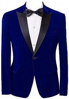 Men's Velvet Royal Blue Suit Blazer Slim Fit One Button Men Coat Peak Lapel Business Jacket