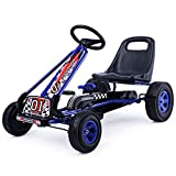 Costzon Go Kart, 4 Wheel Pedal Powered Ride On, Outdoor Racer with Adjustable Seat, Rubber Wheels, Brake, Ride On Pedal Car for Boys, Girls (Blue)
