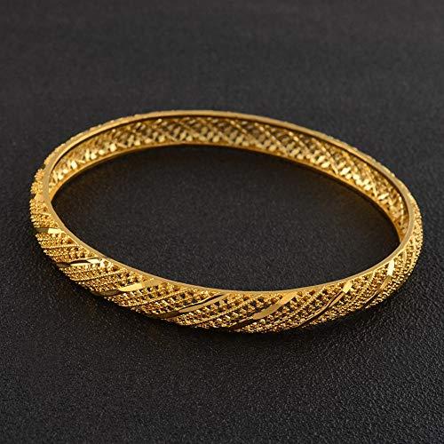 NCDFH Ethiopian African Arab Middle East Gold Color Dubai Wedding Bracelet Bangle for Women Jewelry #J0955 66mm 68mm