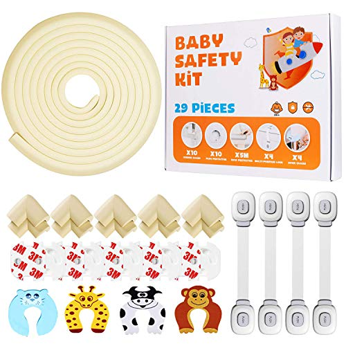 Locn 29 Piezas Kit Seguridad Bebe, 10 Protector Esquinas Niños,10 Seguridad Enchufes Bebes, 5 Metros Protector de Esquinas y Bordes, 4 Cierres Seguridad Bebe, 4 Protector Puertas Niños