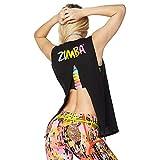 Zumba Activewear Backless Top Deportivo Dance Fitness Camisetas de Entrenamiento, Bold Black 9, Large