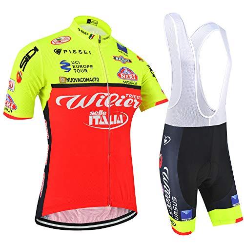 Uomo Tuta Abbigliamento Ciclismo Estive, Magliette da Bici Maniche Corte con Pantaloncini Bicicletta per MTB Ciclista (RED-YD1, L)
