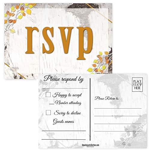 50 Blanko-Postkarten – ideal für Hochzeiten, RSVP, Babyparty, Geburtstage, RSVP Antwortkarten Burch Holz