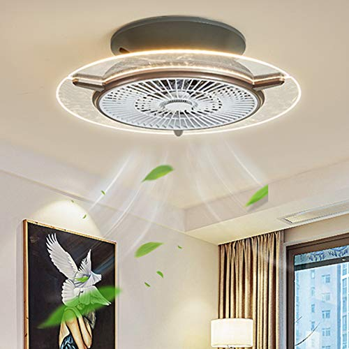 Ventilador De Techo LED Lámpara Luces De Techo Modernas Regulables LED, 3 Velocidades, Con Control Remoto Ventilador Bajo Ruido Adecuado De Estar Dormitorio Habitación Infantil,Braun (ø56cm)