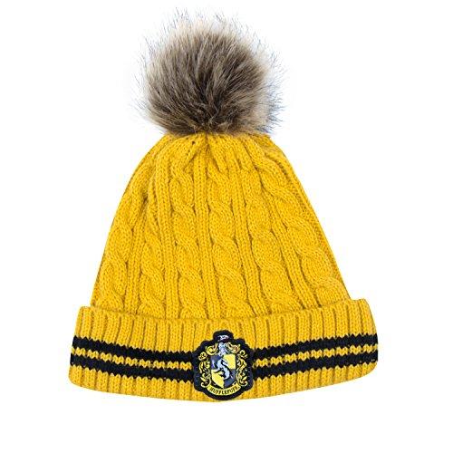 Cinereplicas - Harry Potter Mütze mit Bommel - Offiziel lizensiert - Hufflepuff - Gelb und Schwarz