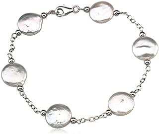 White Freshwater Coin Pearl Bracelet