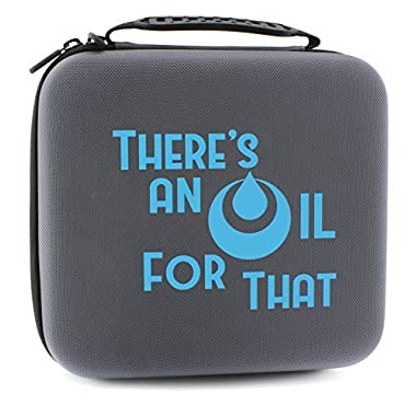 """THERE'S AN OIL FOR THAT"" Essential Oil Carrying Case Holds 30 5ml/10ml/15ml Bottles; Gray Nylon Travel-Friendly Foam-Padded Aromatherapy Organizer w/ Handle & Zipper"