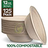 100% Compostable 12 oz. Paper Bowls [125-Pack] Heavy-Duty Quality Natural Disposable...