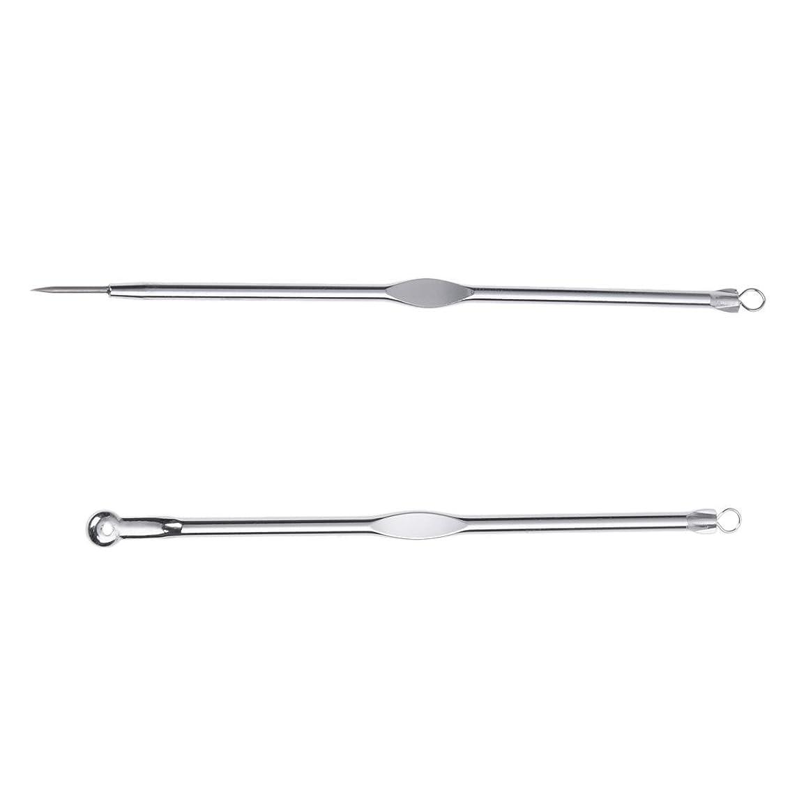 ロケット童謡科学SODIAL(R)ステンレススチールブラックヘッド、ミッシュ、にきび抽出リムーバー針+クリップ