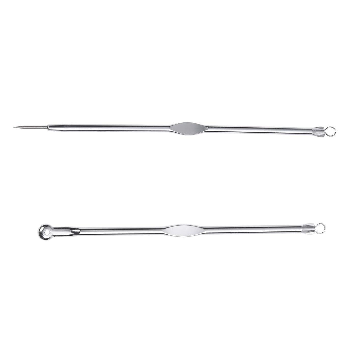 暴君手を差し伸べる病なSODIAL(R)ステンレススチールブラックヘッド、ミッシュ、にきび抽出リムーバー針+クリップ