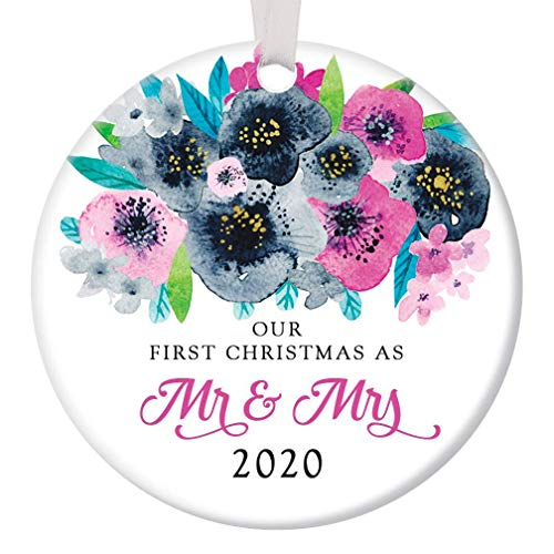 First Christmas Mr & Mrs Ornament 2020 Pretty Floral Bridal Shower Wedding Newlywed Present 1st Holiday Married Husband Wife Ornament