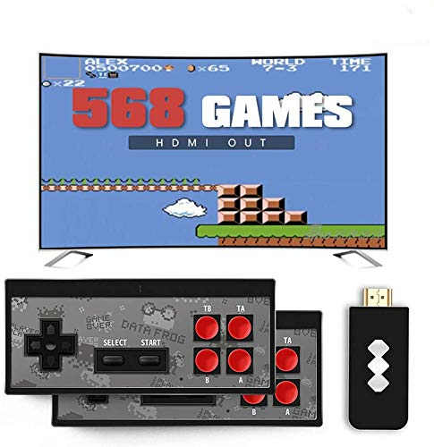 LYPXX Retro Mini HDMI 4K TV Game Stick Konsolen Controller, 568/600 Eingebaute Klassische Spiele, Handheld Spielekonsolen für Kinder, Plug and Play Wireless Gamepad (Y2 AV 600 Games)