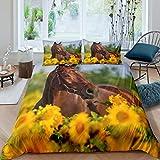 Braunes Pferde-Bettwäsche-Set mit Western-Cowboy-Motiv, Bettwäsche-Set Wildtier-Pferd-Dekor, Bettbezug für Erwachsene, Jungen, Teenager, Sonnenblumen-bedruckte Tagesdecke, gelbes Blumenmuster,