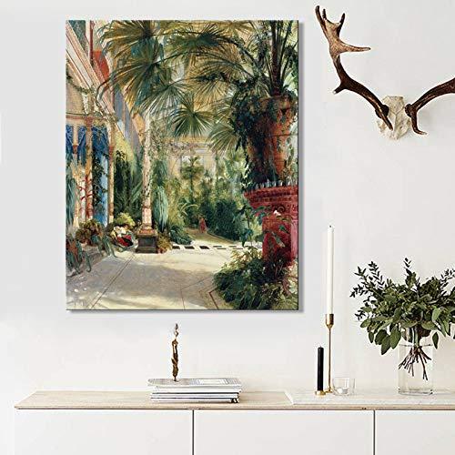 tzxdbh Duitse Carl Blechen Palm House 1834, Classic Beroemde Schilderij Poster Prints op Canvas muur Decoratieve foto voor Woonkamer-in Schilderij & Kalligrafie van 70x70cm No Frame