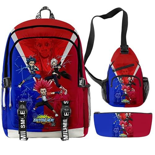 Beyblade Burst Evolution Sac à dos pour enfant + sac à bandoulière + trousse 3 pièces, Beyblade8, 44*30*18 CM (17ZOLL), Sac à dos enfants