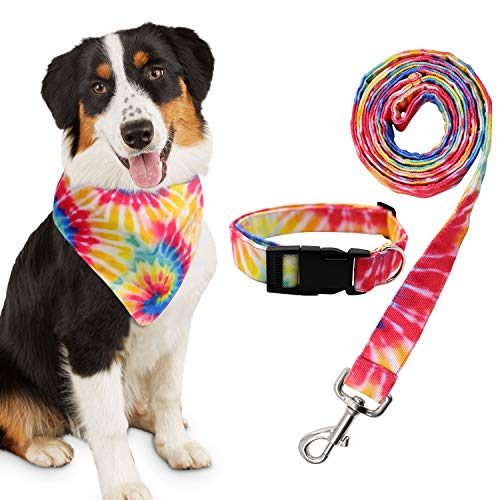 Tie Dye Dog Bandana Collar and Leash Set for Daily Dogs Outdoor Walking Running Training Small Medium Pet Puppy Gifts Set of 3