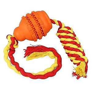 Idepet Chien en Caoutchouc Chew Ball avec Corde, Balle De Jeu De Jouets pour Animaux pour interactif/Exercice/Nettoyage des Dents/Jeu/entraînement de QI pour Chiots/Chats