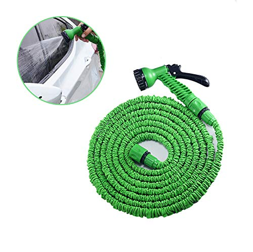 ZHANGZHIYUA tuinslang, uitbreidbare tuinslang met 7 patronen, zonder mondstuk, opvouwbare slang voor eenvoudige hoofdopslag (groen)
