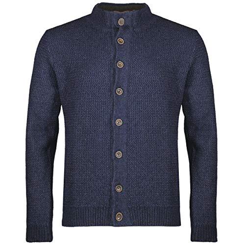 Gweih und Silk Herren Trachten-Mode Strickjacke Oliver in Blau traditionell, Größe:S, Farbe:Blau