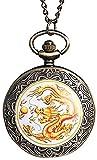 YOUZYHG co.,ltd Collar Dorado Dragón Chino Diseño de Mosca Reloj de Bolsillo Collar Niño Hombre Hombre