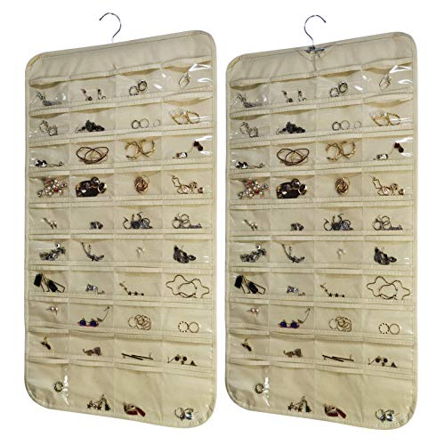 2 Pack Hanging Jewelry Organizer with 80 Pockets ,Double Sided Closet Earring Storage for Necklace Bracelet with Hanger,Beige