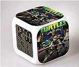 HHIAK666 Anime Ninja Tortuga Salvia Despertador Reloj, Cuadrado 7 Color Cambio Despertador Reloj 8Cm 21