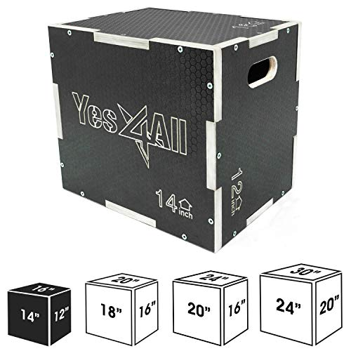 "Yes4All Non-Slip Wooden Plyo Box 16"" 14"" 12"" - Black"