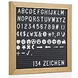 GOODS+GADGETS Buchstabenbrett Letter-Board aus Holz 27 cm - Rillentaffel Buchstabentafel Felt...