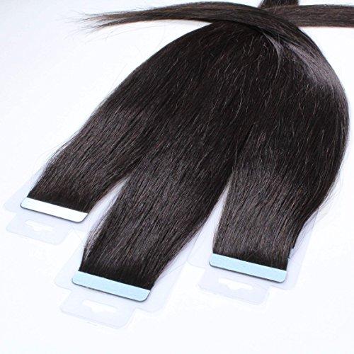 Just Beautiful Hair 30 x 2.5 g REMY Vierge Extension bande adhésives - 60cm, couleur #1b Noir naturel, lisse