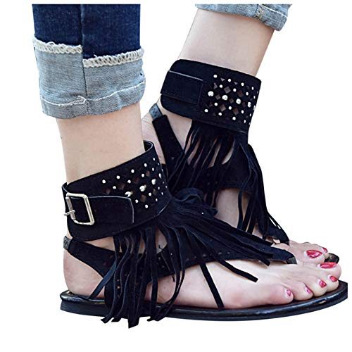 Women Flat Sandals, Retro Floral Casual Tassels Hollow Open Toe Rhinestone Flip Flops Elastic Band Bag-Heel Sandals