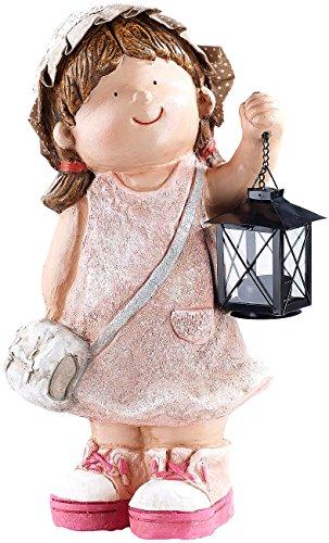 Royal Gardineer Dekofigur mit Laterne: Handbemalte Deko-Figur Klein-Anne mit Laterne (Gartendekorationen)