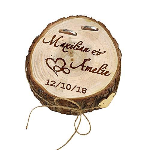 xHxttL Anillo de Bodas Personalizado Caja de Madera Rebanada de Madera Grabado Personalizado Propuesta de Boda Anillo de Compromiso Portador Caja
