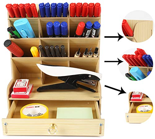 CATEKRO Kantoor opbergdoos grote capaciteit multifunctionele briefpapier opbergdoos massief houten pennenhouder voor puin plank