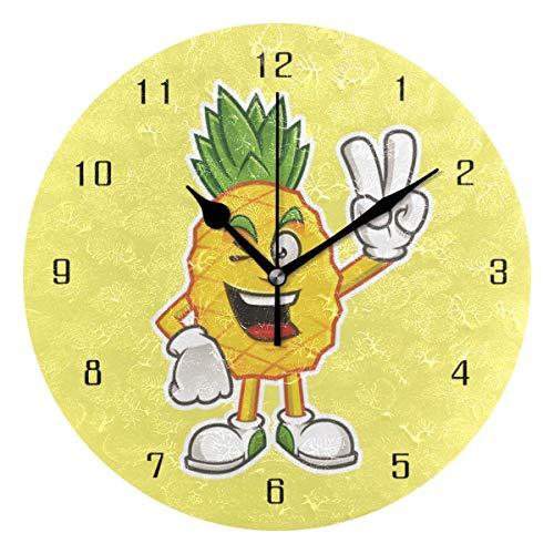 Wohnkultur Cartoon Ananas Mann ja Runde Stil M Wanduhr, stille nicht tickende Wanduhr, batteriebetriebene Kunst dekorativ für Küche, Wohnzimmer, Kinderzimmer und Kaffee Dekor (10 Zoll)