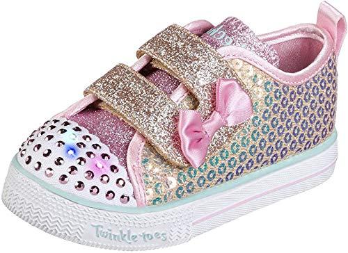 Skechers baby girls Twinkle Toes - Shuffle Lite Mini Mermaid 20063n (Toddler/Little Kid) Sneaker, Gold, 9 Toddler US