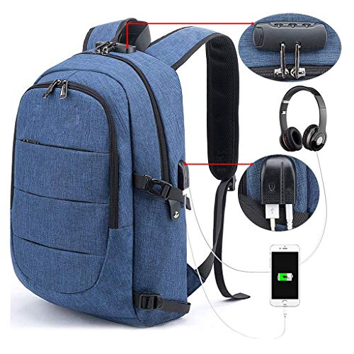Laptop Backpack Anti-Theft College Backpack with USB Charging Port Lock Headphone Jack Bookbag School Business Travel Backpack Computer Backpack for Fits Up To 15.6-Inch Notebook,Blue