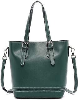 Portable Ms. Leather Handbag Large-Capacity Bucket Bag Soft Leather Shoulder Messenger Bag 22.5 * 26 * 11cm (Color : Green)