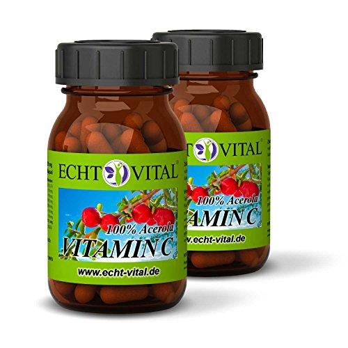 Natürliches - ECHT VITAL Vitamin C - 100% Acerola-Fruchtpulver mit 420 mg pro Kapsel - 2 Gläser mit jeweils 60 Kapseln