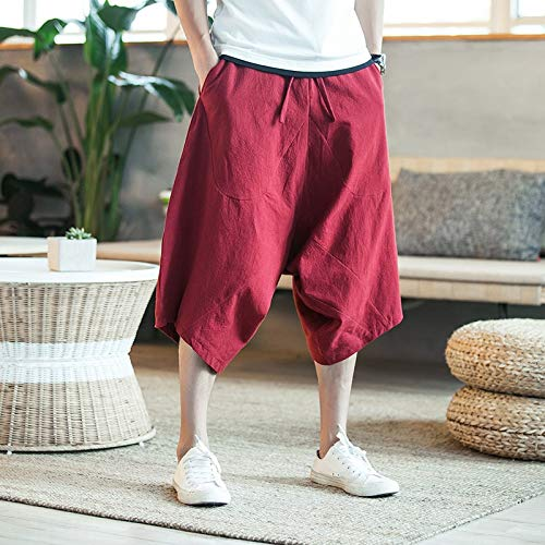 RSL Thai Olifant breed been broek grote maat mannelijke vet losse linnen broek bijgesneden broek groot kruis broek zomer strand (Kleur: Rode wijn, Maat : L)