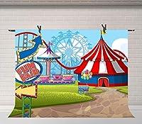 写真カーニバルをテーマにしたパーティーの背景のためのHD遊園地レッドキャンプの背景10x7ft写真小道具DSFU219