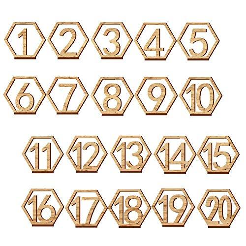 gotyou 1-20 Tarjeta Digital de Madera,Hexagonal Números de Mesa de Madera,con Base de Soporte,Recepción de la Boda Decoracion de Catering
