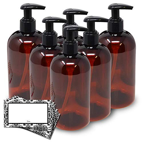 Baire Bottles 16 Ounce Plastic Bottles with Lotion Pumps - 6 pack with...