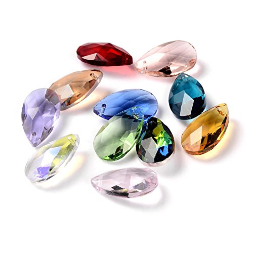Kissitty 100-Piece Random Mixed Color Faceted Drop Glass Charm Beads 22x13mm Top Drilled Crystal Glass Chandelier Dangle Pendants for DIY Jewelry Craft Making Home Decoration